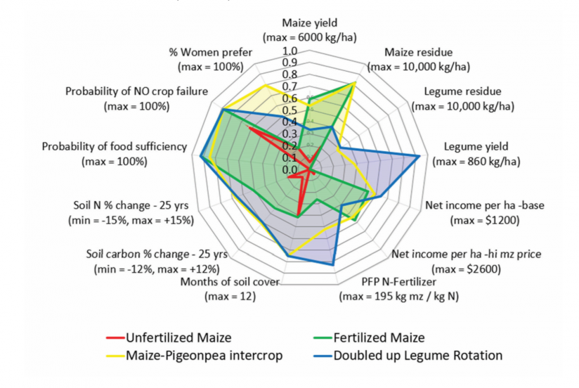 Comparison of maize and maize/legume technologies in Golomoti, Malawi, across all five domains utilizing data from Africa RISING trials, surveys, and crop models.